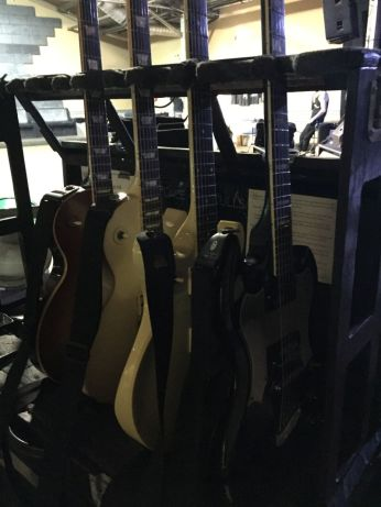 Victor's tour arsenal. From l-r, Gibson, Gibson, Ibanez, Guild
