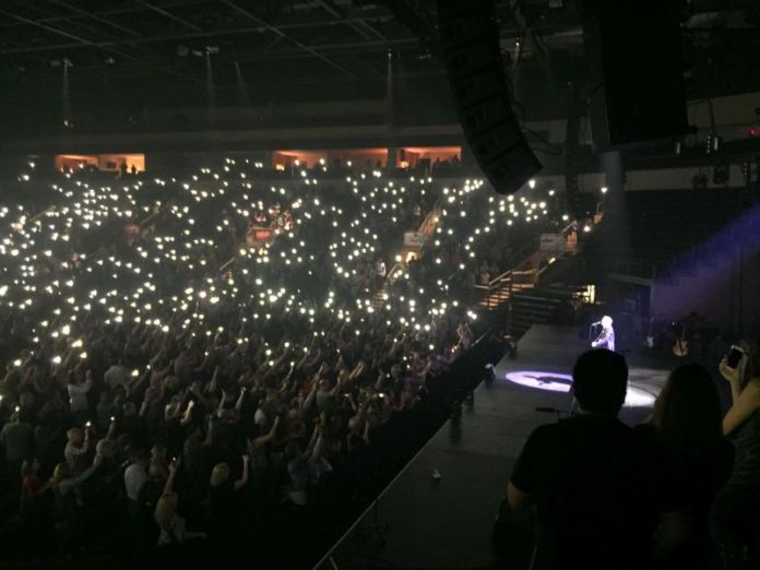 During the encore, he had everyone turn on their cell phone lights.