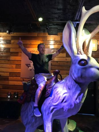 Michael rides the jackalope