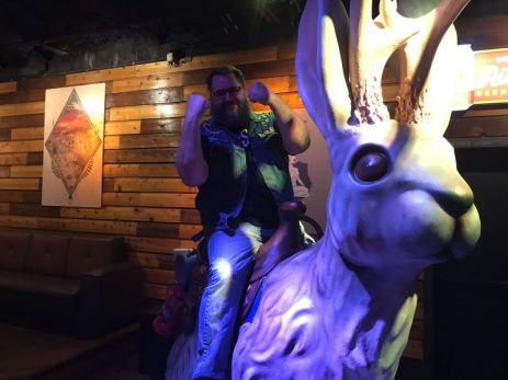 Monkey Boy rides the jackalope